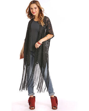 Panhandle Women's Black Lace Fringe Kimono Duster, Black, hi-res