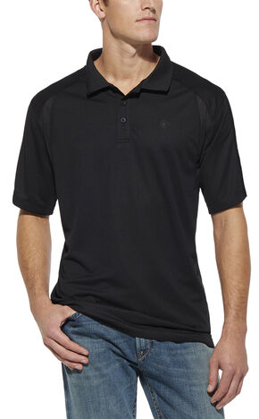 Ariat Black AC Tek Polo Shirt, Black, hi-res