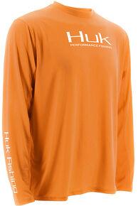 Huk Performance Fishing Men's ICON Long Sleeve T-Shirt , Orange, hi-res