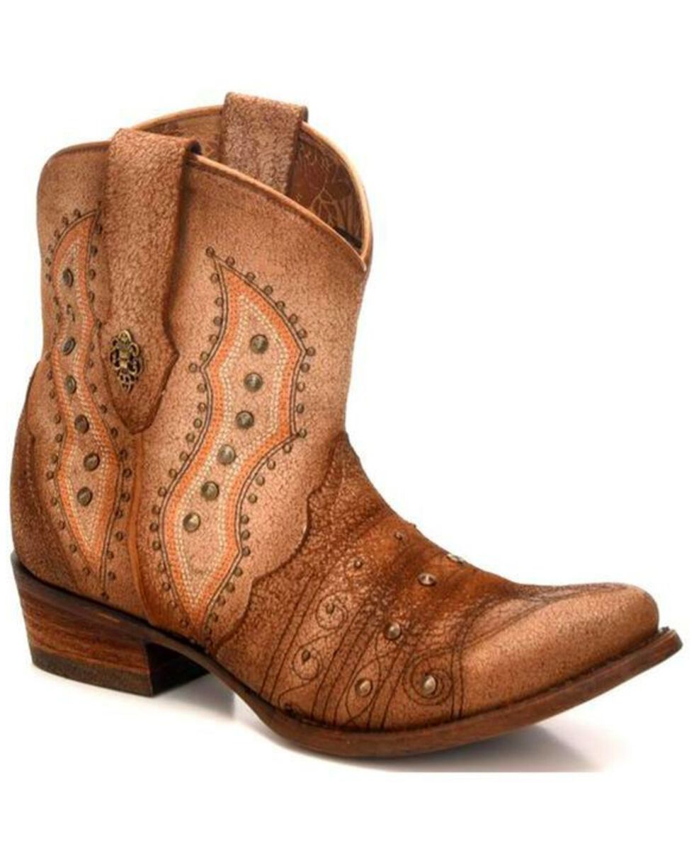 Corral Women's Bone Embroidery &Amp; Studs Short Western Boots   Round Toe by Corral