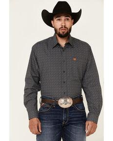 Cinch Men's Charcoal Geo Print Long Sleeve Button-Down Western Shirt , Charcoal, hi-res