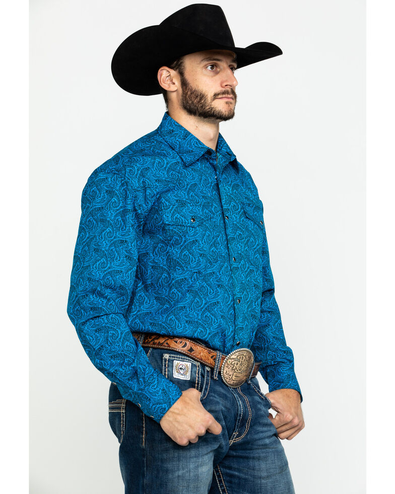 Roper Men's Amarillo Gentlemans Paisley Print Snap Long Sleeve Western Shirt , Blue, hi-res