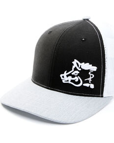 Oil Field Hats Men's Black Tri-Color Sniper Pig Mesh Cap , Black, hi-res