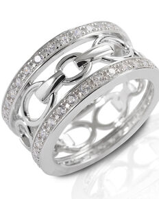 Kelly Herd Women's Wide Band Bit Ring, Silver, hi-res
