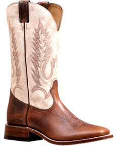 Boulet Men's Bone Stockman Cowboy Boots - Square Toe, Brown, hi-res