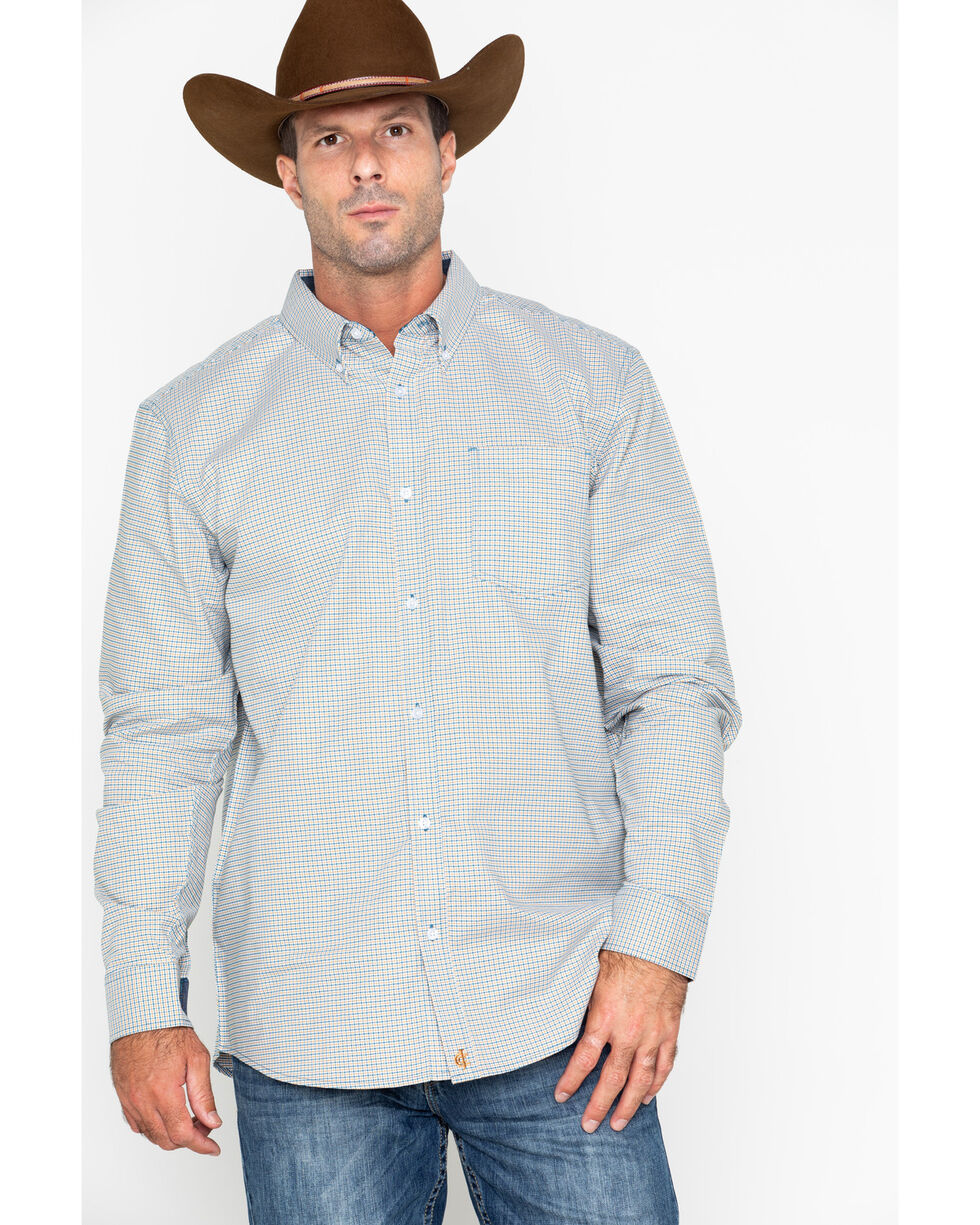 Cody Core Men's Woven Long Sleeve Fairweather Western Shirt , Navy, hi-res
