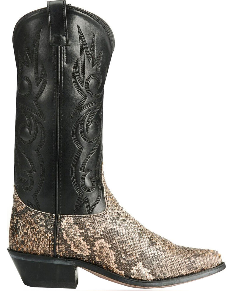 Old West Snake Printed Cowboy Boots - Round Toe, Natural, hi-res