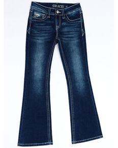Grace In LA Girls' Dark Border Faux Flap Pocket Bootcut Jeans, Blue, hi-res