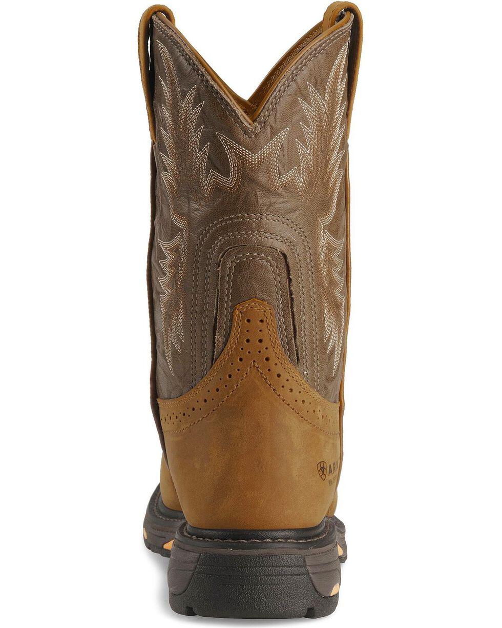 Ariat Brown H20 Workhog Work Boots - Round Toe, Aged Bark, hi-res