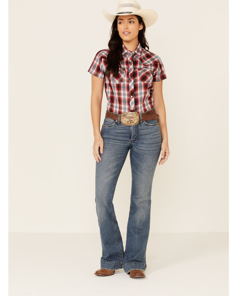 Ely Walker Women's Red Plaid Short Sleeve Snap Western Shirt , Red, hi-res
