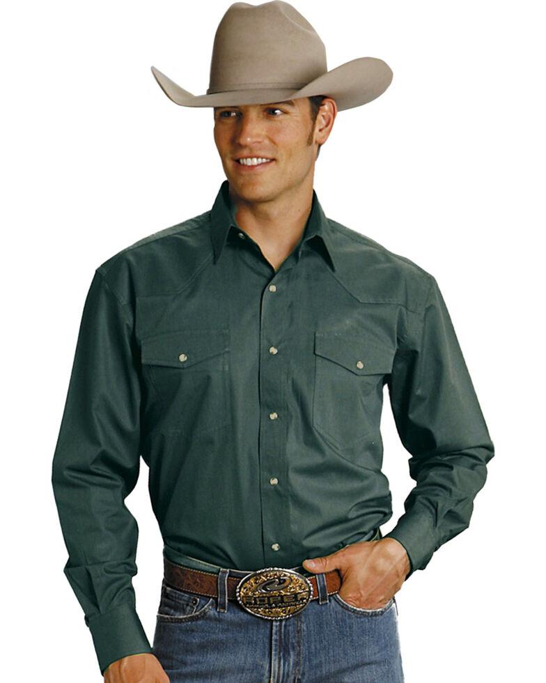 Roper Men's Amarillo Collection Western Shirt, Hunter Green, hi-res