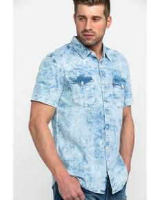 Levi's Men's Grey Nevin Denim Short Sleeve Western Shirt , Grey, hi-res