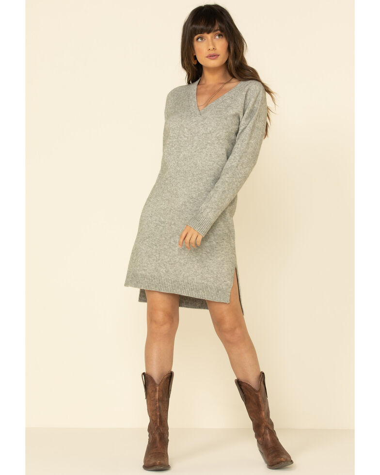 Mystree Women's Grey Long Sleeve Sweater Dress, Grey, hi-res