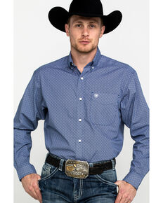 Ariat Men's Ramos Geo Print Long Sleeve Western Shirt , Blue, hi-res