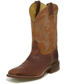 Justin Men's Bender Western Boots - Wide Square Toe, Brown, hi-res