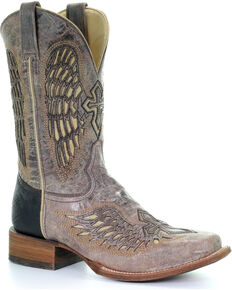 Corral Men's Wing & Cross Western Boots - Square Toe, Brown, hi-res