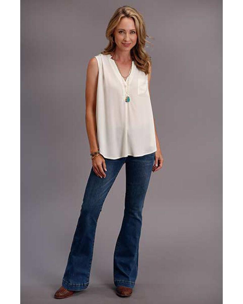 Stetson Women's Cream Rayon Crepe Sleeveless Blouse , White, hi-res