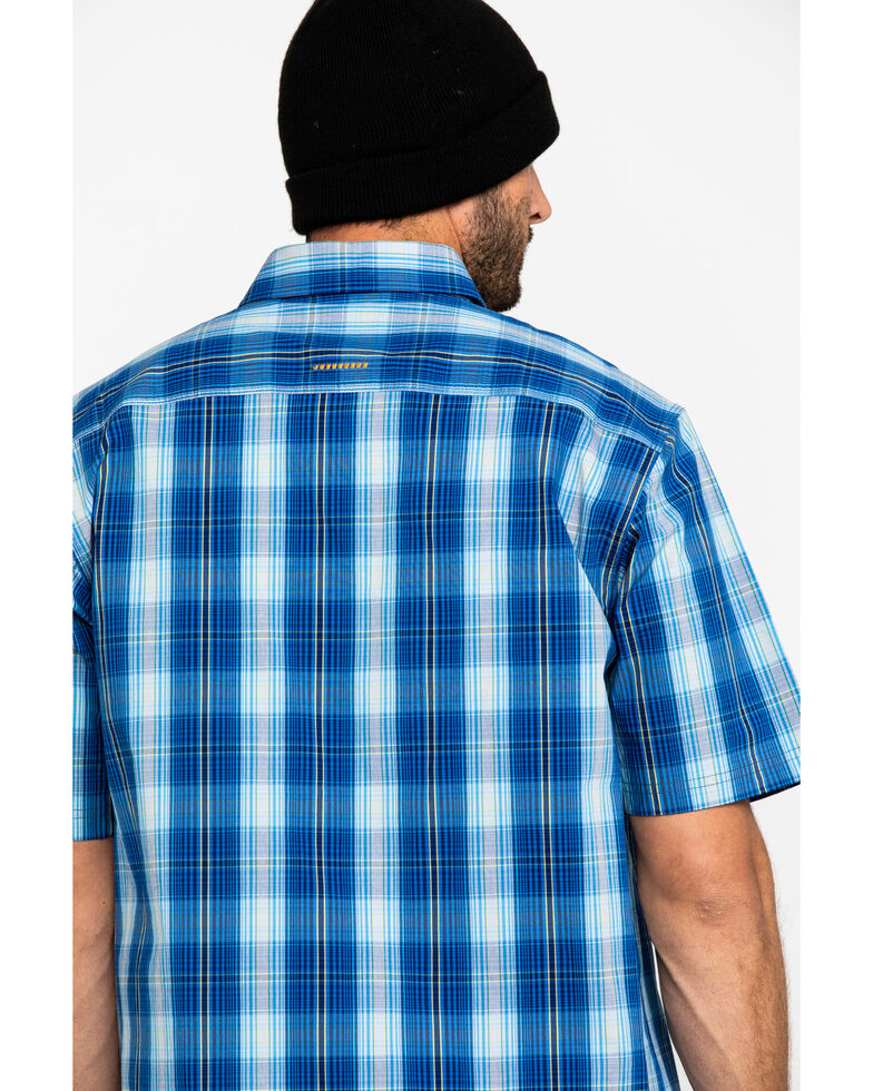 Ariat Men's Navy Plaid Rebar Made Tough Short Sleeve Work Shirt - Tall , Navy, hi-res
