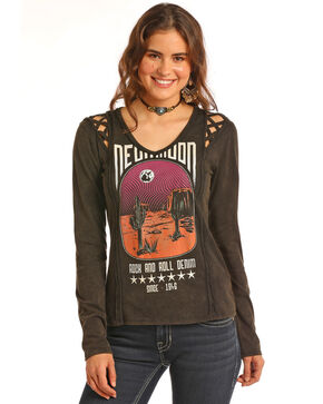 Rock & Roll Cowgirl Women's Cactus Graphic Lattice Shoulder Top, Black, hi-res