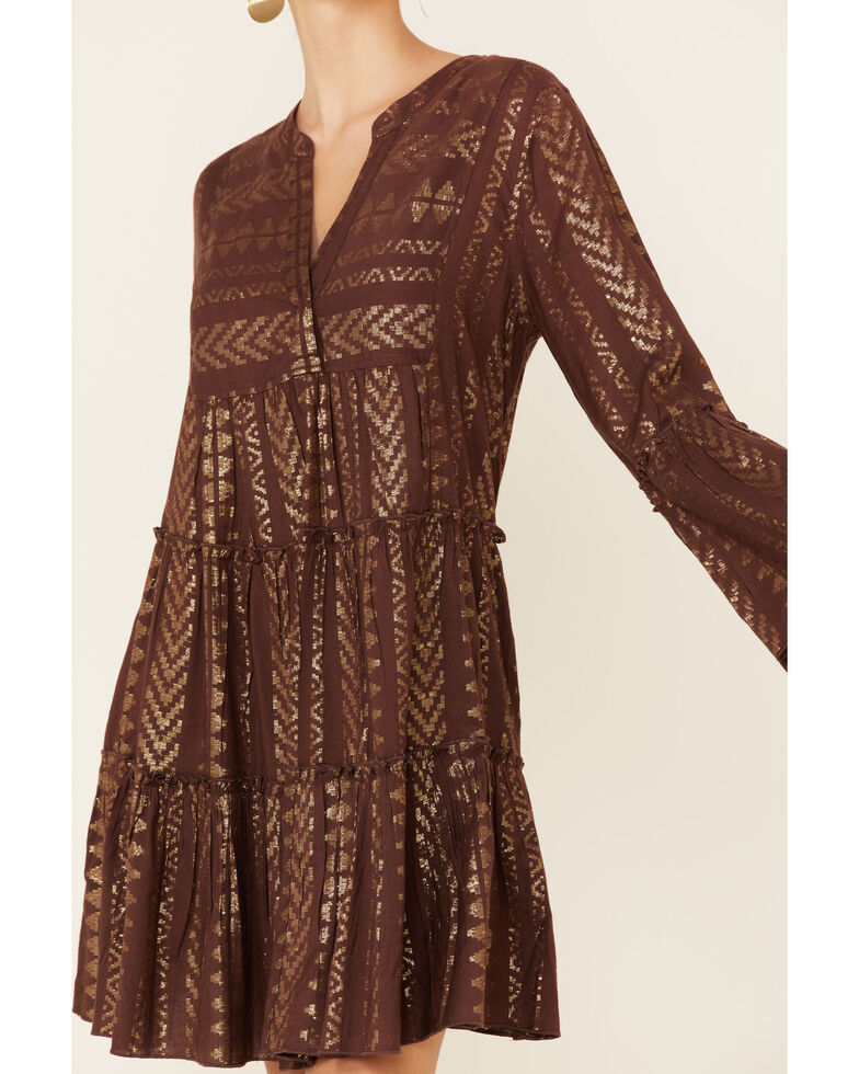 Elan Women's Metallic Aztec Print Dress, Brown, hi-res