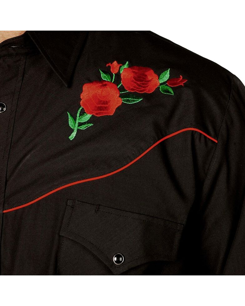 Ely Cattleman Men's Solid Embroidered Rose Long Sleeve Western Shirt, Black, hi-res