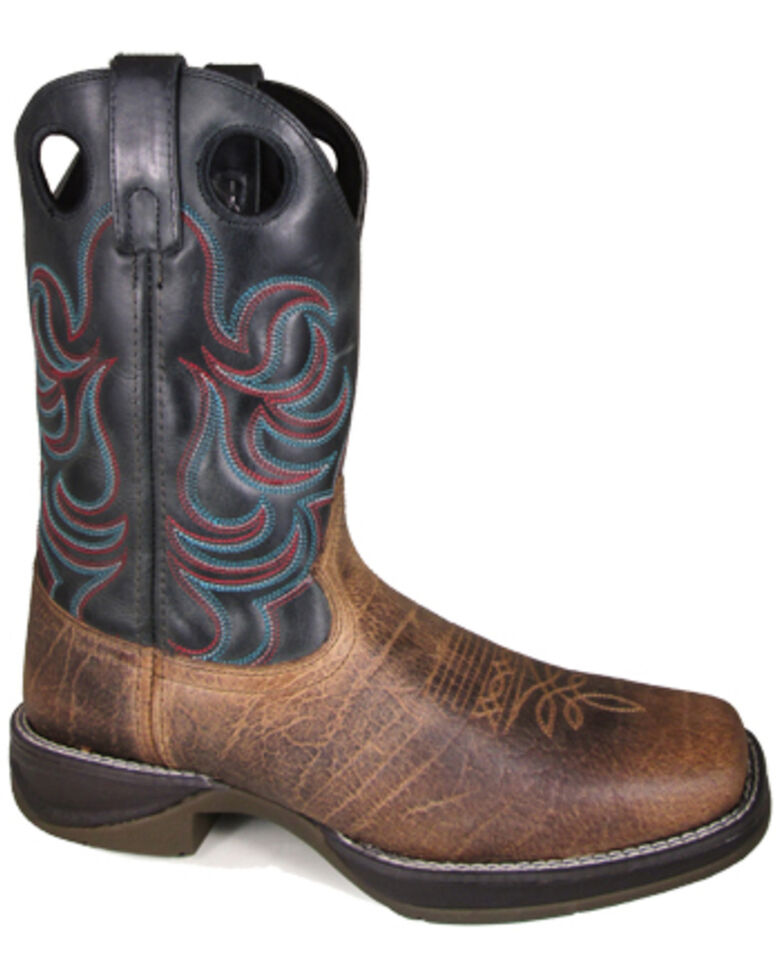 Smoky Mountain Men's Benton Western Boots - Square Toe, Brown, hi-res
