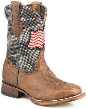 Roper Girls' American Camo Western Boots - Square Toe, Brown, hi-res