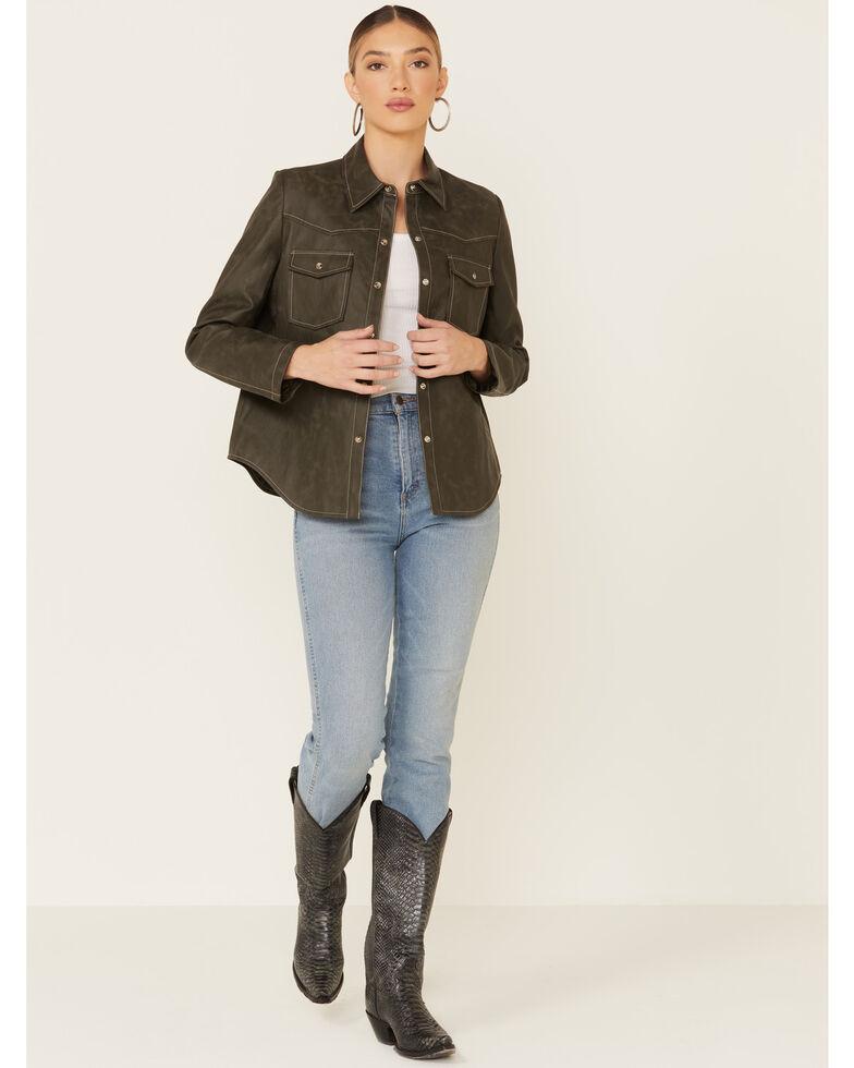Velvet Heart Women's Olive Faux Leather Shirt Jacket , Olive, hi-res