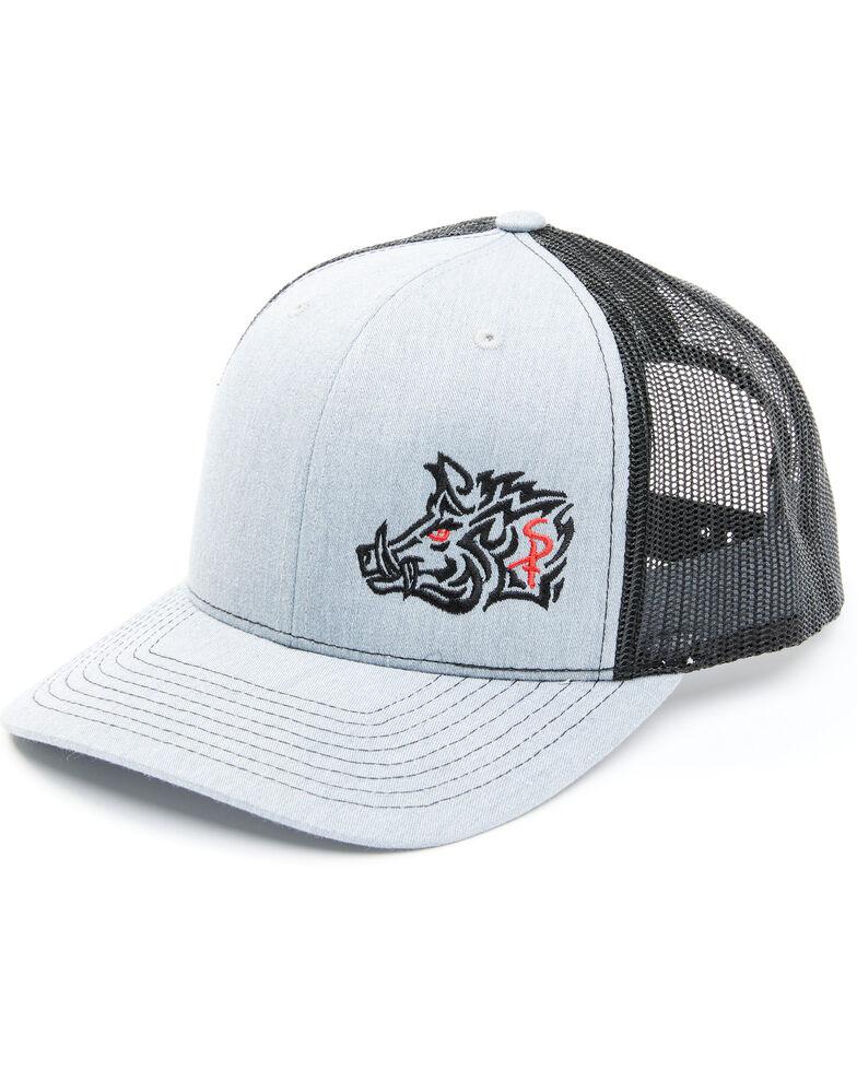 Oil Field Hats Men's Heather Grey Aztec Sniper Pig Mesh-Back Ball Cap, Heather Grey, hi-res