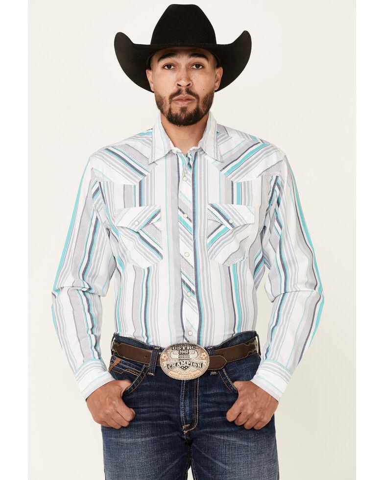 Wrangler 20X Men's White Stripe Long Sleeve Snap Western Shirt , White, hi-res