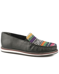 Roper Women's Jacolin Serape Vamp Leather Slip On Shoes - Moc Toe, Black, hi-res