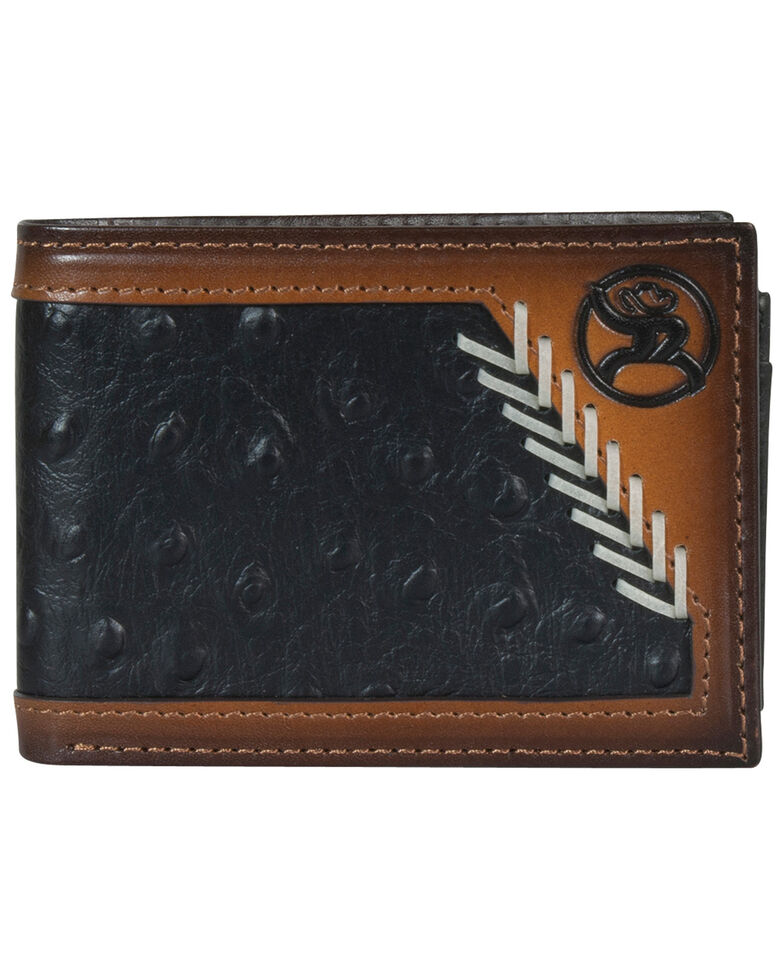 HOOey Men's Black Ostrich Bifold Wallet, , hi-res