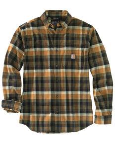 Carhartt Men's Olive Plaid Long Sleeve Button-Down Work Shirt Jacket , Olive, hi-res