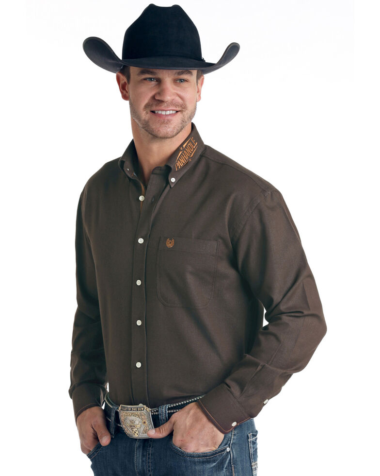 Rough Stock By Panhandle Men's Brown Micro Honeycomb Solid Long Sleeve Western Shirt , Brown, hi-res