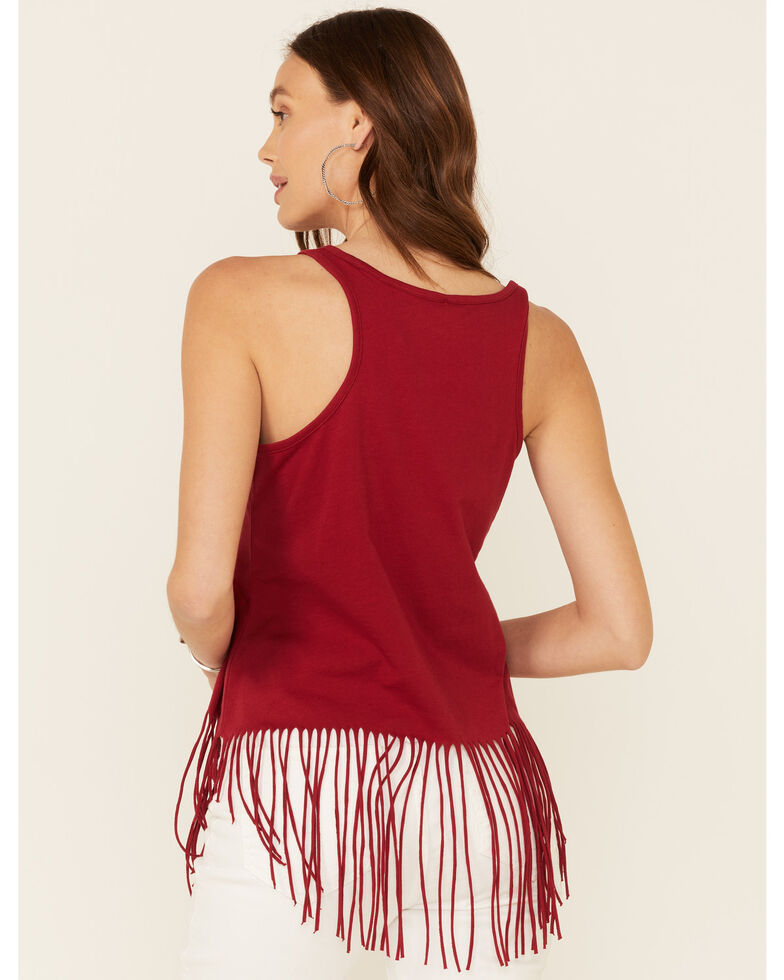 Shyanne Women's America The Beautiful Graphic Fringe Tank Top, Red, hi-res