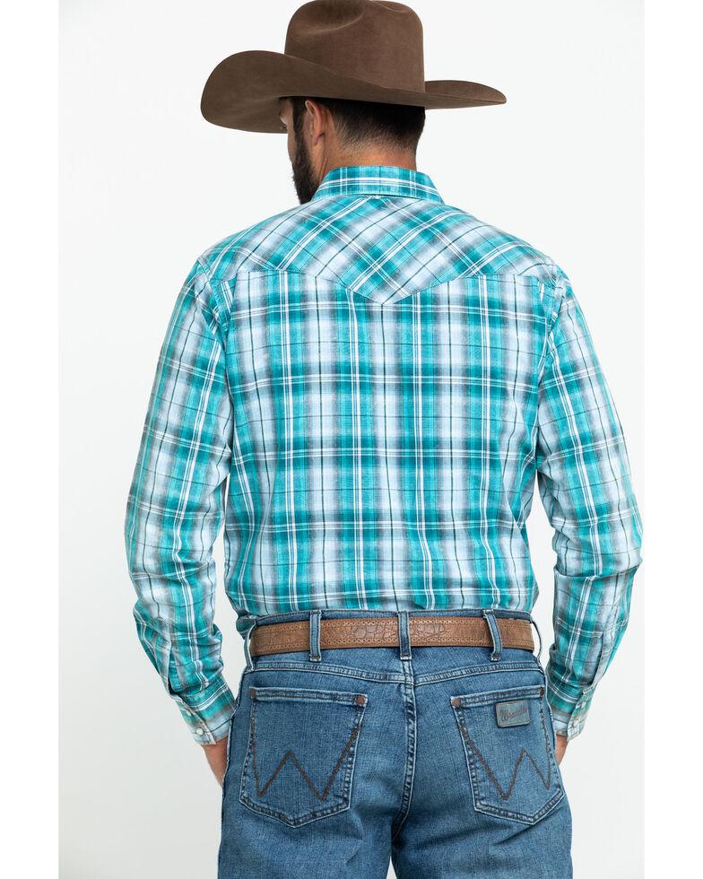 Wrangler Retro Men's Premium Teal Large Plaid Long Sleeve Western Shirt , Teal, hi-res