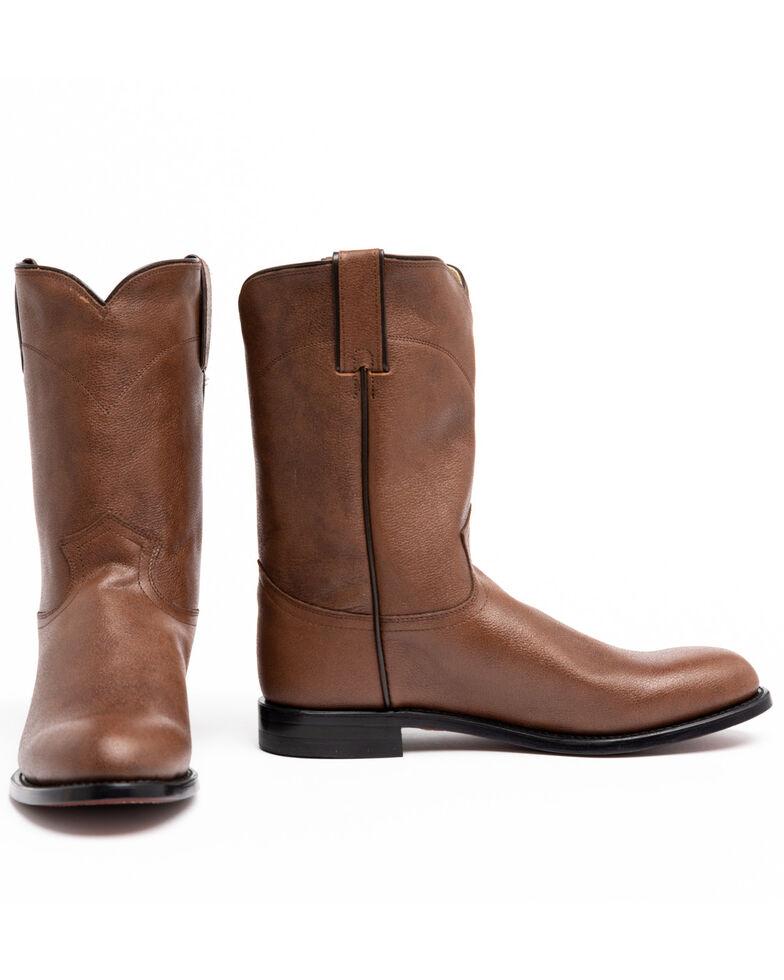 Justin Men's Classic Roper Cowboy Boots - Round Toe, Tan, hi-res