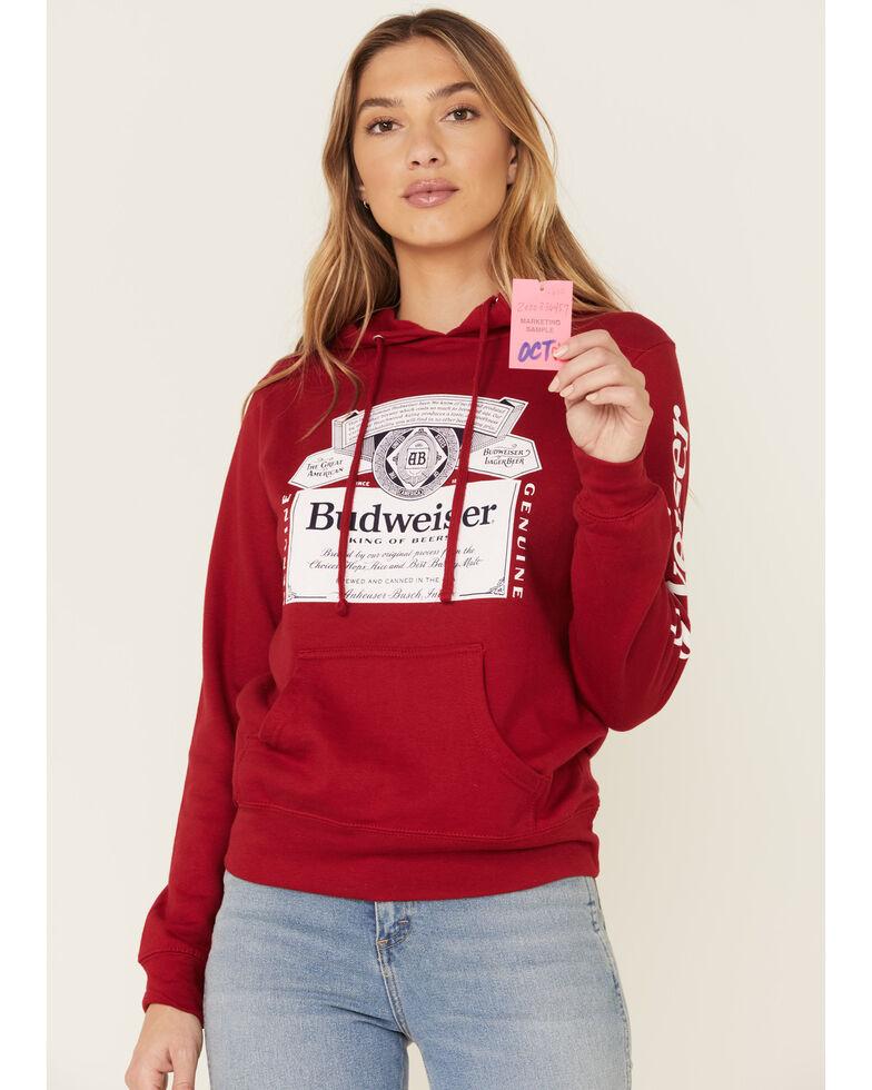 Brew City Beer Gear Women's Red Budweiser Graphic Hooded Sweatshirt , Red, hi-res