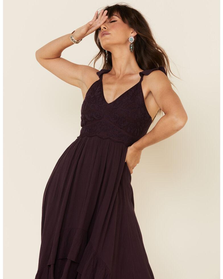 Shyanne Women's Embroidered Bodice Ruffle Maxi Dress , Grape, hi-res