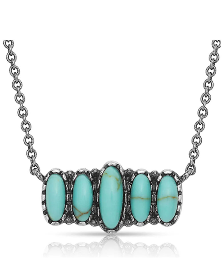 Montana Silversmiths Women's Turquoise Quint Bar Necklace, Silver, hi-res