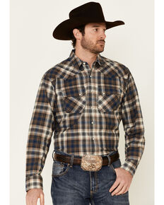 Ariat Men's Hoboken Retro Large Plaid Long Sleeve Snap Western Shirt - Tall, Black, hi-res