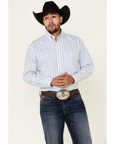 George Strait By Wrangler Men's White Small Plaid Long Sleeve Button Western Shirt , White, hi-res
