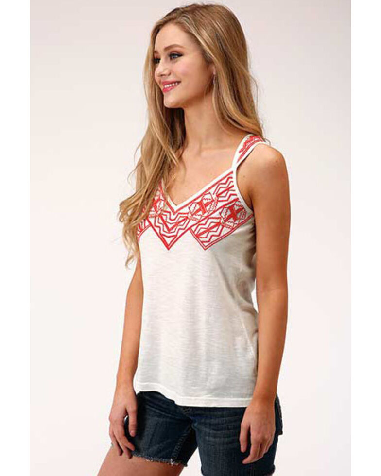 Five Star Women's Aztec Embroidery Sleeveless Top  , White, hi-res