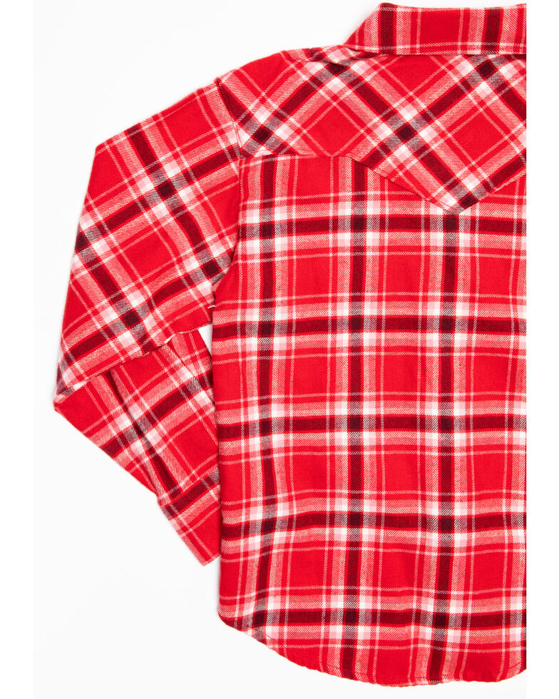 Shyanne Toddler Girls' Red Plaid Woven Lace Trim Long Sleeve Western Shirt, Red, hi-res
