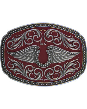 Rock 47 by Montana Silversmiths Winged Horsehoe Belt Buckle, Silver, hi-res