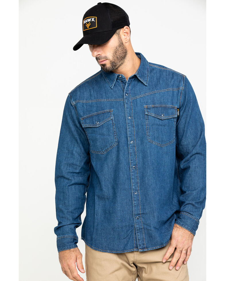 Hawx Men's Stonewashed Denim Snap Western Long Sleeve Work Shirt - Tall , Blue, hi-res