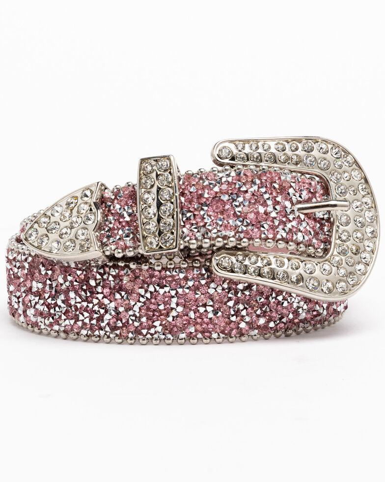 Shyanne Girls' Pink Shimmer Glitz Belt, Pink, hi-res