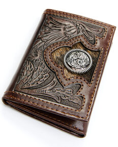 Cody James Men's Hair-On Floral Tooled Trifold Wallet, Brown, hi-res