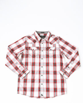 Cody James Boys' Brooks Plaid Long Sleeve Western Shirt , Red, hi-res