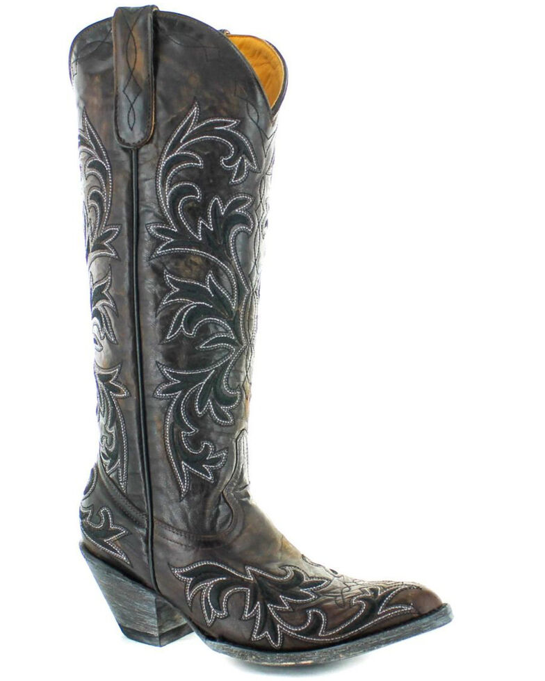 Old Gringo Women's Ilona Stitched Western Boots - Round Toe, Chocolate, hi-res